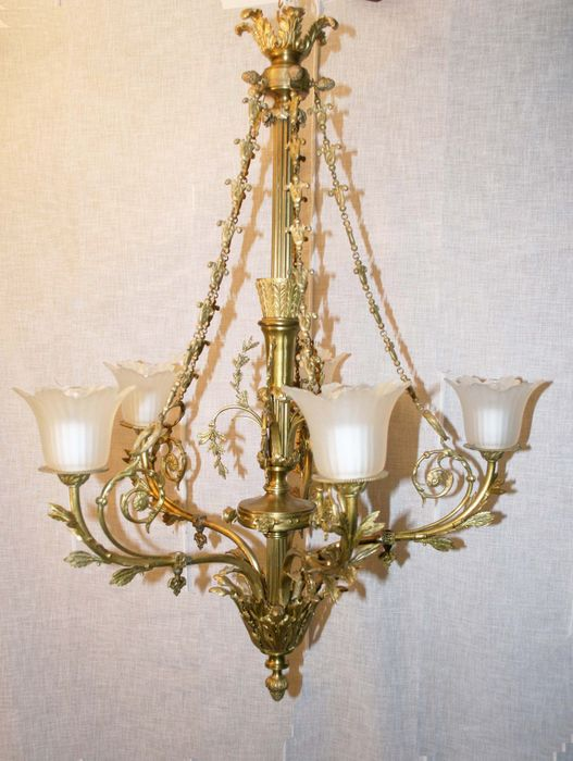 Gold plated brass chandelier (converted gas crown) - France - ca. 1900