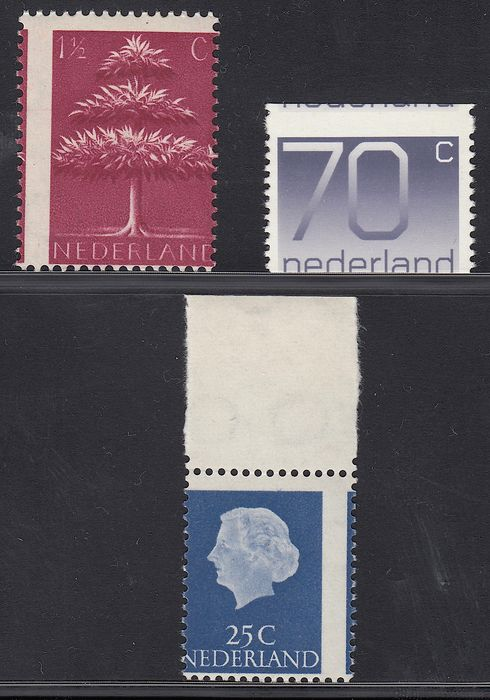 The Netherlands 1941/1976 - Germanic symbols, Juliana and Crouwel. Misprints - NVPH 405, 623 and 1117A with heavily shifted perforation