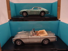 Lucky Die Cast/Yatming - Scale 1/18 - Lot with 2 models: Aston Martin DB 2/4 MK III DHC 1957 & Aston Martin DB4 GT Zagato 1960