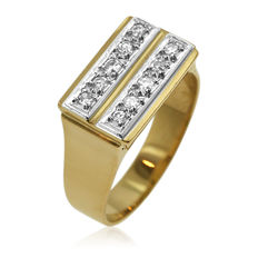 18kt White and Yellow Gold Double Diamond Row Ring, As New