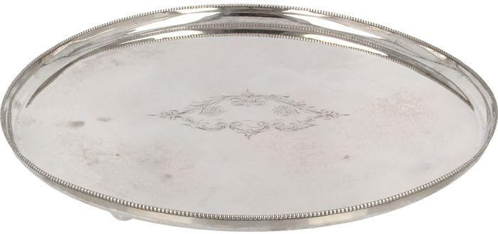 Silver tray on spherical legs, Fa. J.M. van Kempen & Zn, Voorschoten, 1882