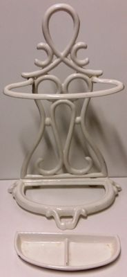 A cast iron umbrella stand, white enamel with original inner container, France, circa 1900