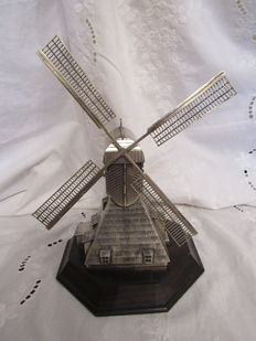 Solid silver Dutch mill with mahogany base, Herman Hooijkaas, Schoonhoven, 20th century