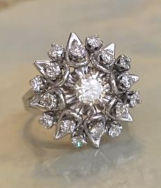 18 kt white gold entourage ring with brilliant cut diamonds – approx. 1.10 ct in total
