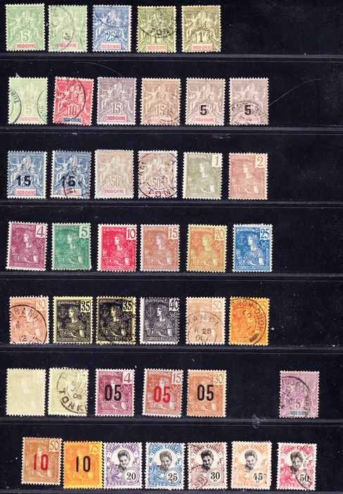 Indochina, Former French Colonies 1892/1939 - Collection of 89 stamps with Yvert no. 15 signed Brun, Airpost and Postal Parcel