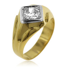 18kt White and Yellow Men's Diamond Solitaire Ring, As New