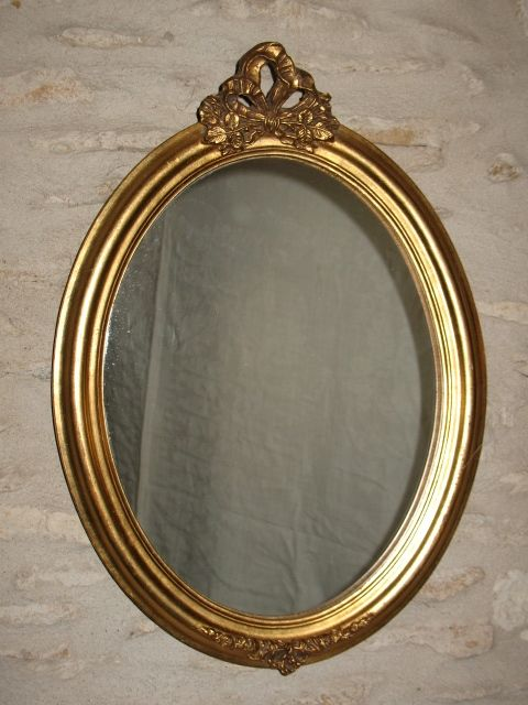 Gold-plated French mirror in wooden bow frame, wall mirror, ca. 1950 - France