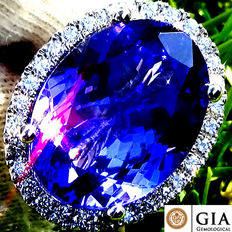 10.83 ct Natural Violet Blue Tanzanite And Diamond Cocktail Ring in 18 kt white gold - GIA Certified - No Reserve