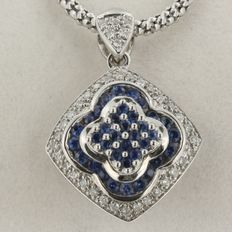 White gold necklace with brilliant cut sapphire and diamond