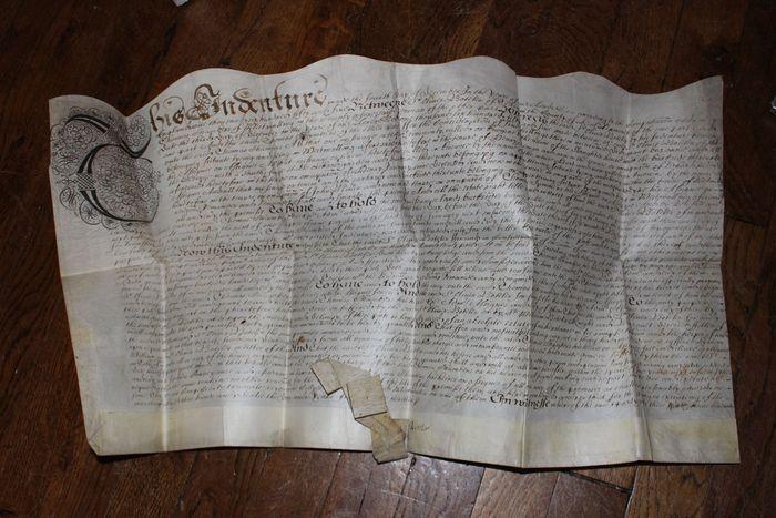 England, family Chambers - Deed on vellum skin - 1655