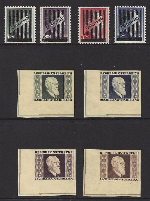 Austria 1945/1946 – overprint and imperforate – Michel Va/Vd and 772B/775B