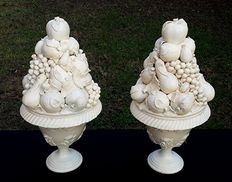 "Pair of ""Trionfi"" ceramic centrepieces with mixed fruit"