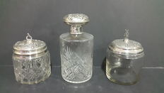Three Cut Crystal Silver Jars from the 20th Century