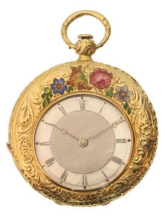 J.F. Bautte & Ce gold and silver enamelled flowers pocket watch - anno 1860. Reduced price!
