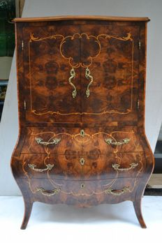 Inlaid solid wood sécretaire with brass handles - 20th century