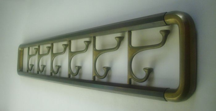 Brass wall coat rack - octagonal tubes and folding brackets