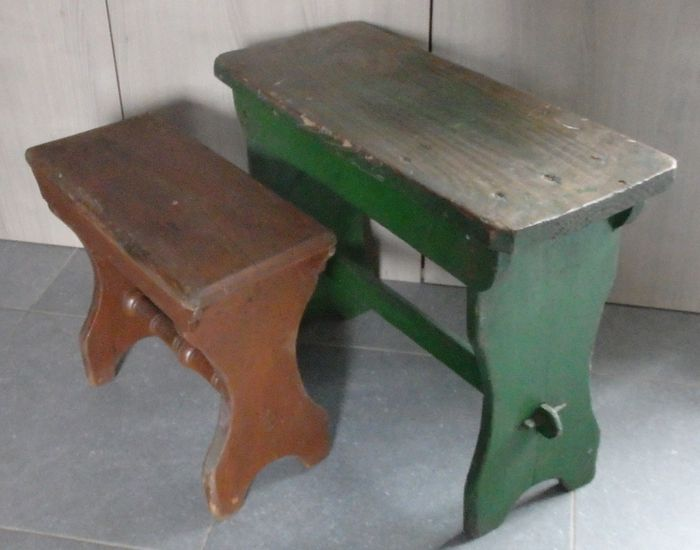 Set of wooden farmer benches - 1st half 20th century