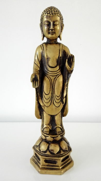 Brass statue of standing Buddha - Nepal - 2nd half 20th century