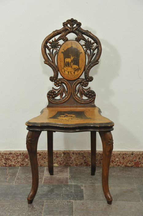 Black Forest Brettstuhl (board-back chair) with inlay - Southern Germany - 19th century