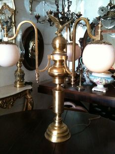 Beautiful Empire style lamp with 3 lights, in brass with globe glass, Italy, 20th century
