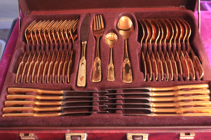 Dinnerware - fully gold-plated cutlery! SBS Solingen cutlery case, 70 pieces - Venice Model - 23/24 carat plated
