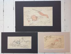 Lot of three erotic shunga pen drawings in pastel colours in a nice passe-partout – Japan – Around 1900