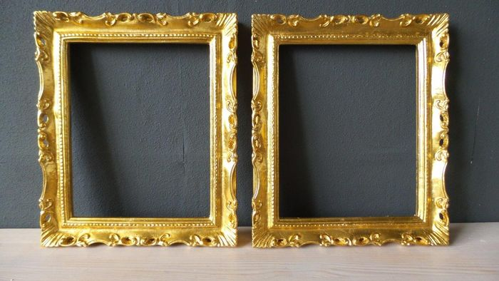 Two Gilded Picture Frames Inside Dimensions 24 X 30 Cm 21st