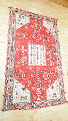 Superb persian wool carpet from MAINGUET with certificate - representation of the tree of life