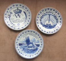 Porceleyne Fles - 3 wall plates issued for the commemoration of WW I
