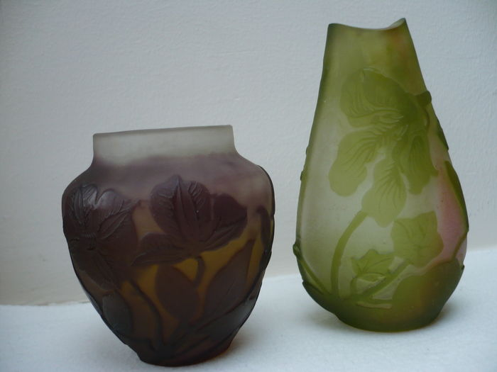Galle Lot Of 2 Glass Vases Catawiki