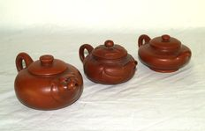 Three Yi xing teapots - China - second half of the 20th century