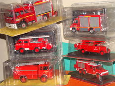"Ixo-Hachette-Delprado - Scale 1/43-1/57 -  Lot of 6 firefighter trucks ""Interventions"" 2 x Berliet , 1 x Acmat FPTR, 1 x Citroen 350 , 1 x Saviem and 1 x Iveco VSR"