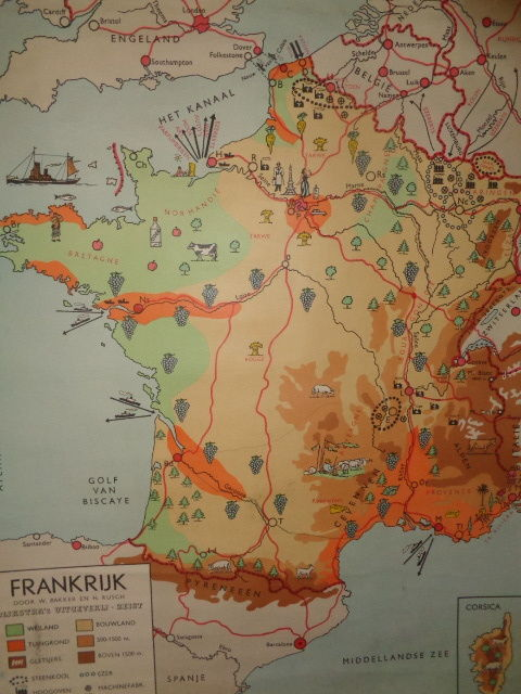 Old school map/map/school poster of France by Baker and Rusch, with ...