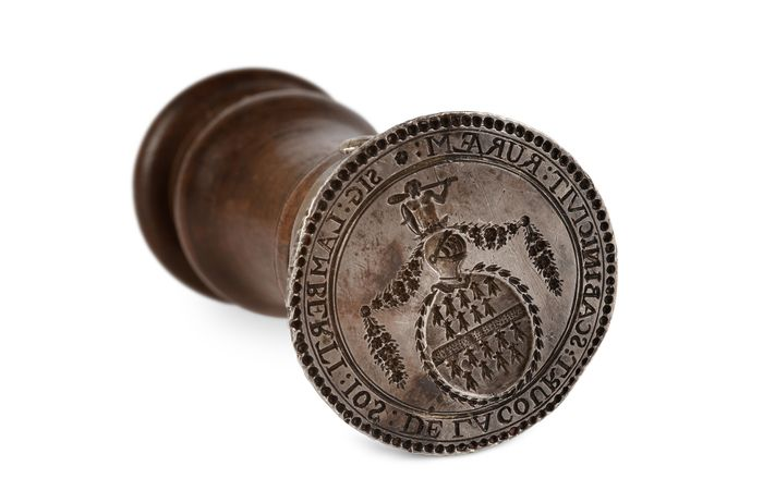 "Silver ""schepen"" (magistrate's)  seal Josephus de la Court 18th century"