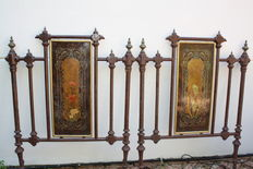 Bed footboards with Art Nouveau panels inlaid in mother of pearl