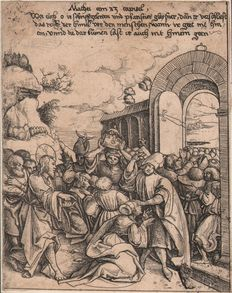 Daniel Hopfer ( 1471 - 1536 ) - The pharisees blocking the entrance to the kingdom of heaven - A reformants protest against misdeeds - Ca. 1518/36