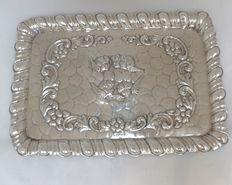 Silver serving tray with detailed decoration of angels - Henry Hobson & Sons - Sheffield - early 1900