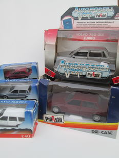 Polistil-Italy - Scale 1/25-1/40 - Lot with 5 models: 4 x Volvo 760 and 1 x Volvo 780