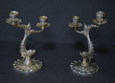 Pair of silver candelabra with fishes, Spain, 2nd half of 20th century
