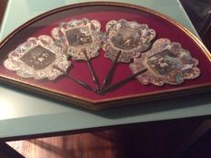 Beautiful fans in glass case, with events from the life of Napoleon - period, 19th century