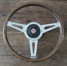 Genuine Original Mountney 14 inch (35cm) Wooden Steering Wheel with MG Chrome Boss