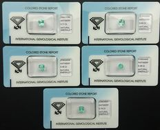 Emeralds – 2.98 ct in total (5)