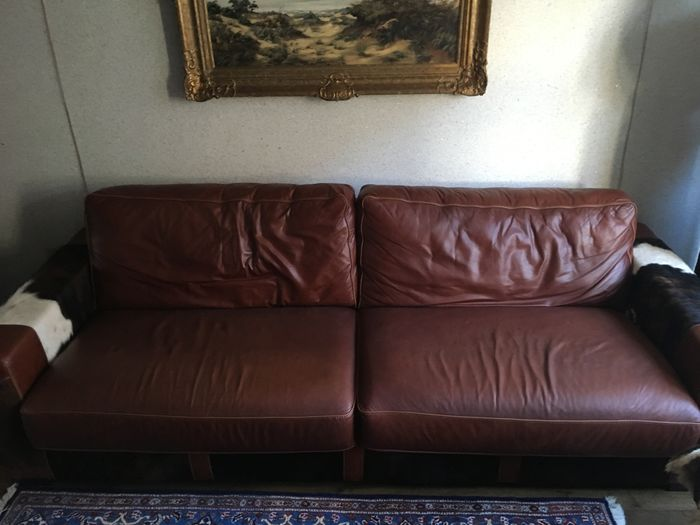 Beautiful calfskin leather 3 seater with cowhide cowboy Cowboy sofa