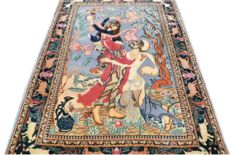 Beautiful semi-antique pictorially Isfahan Persian carpet – very detailed – 1,000,000 knots/m².