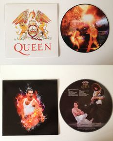 """Queen Lot Of Two Picture Disc LP's  10"""" """"We Are The Champions""""  &  12"""" """"Bohemian Rhapsody Live"""""""