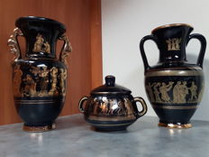 Three Greek ceramic vases with 24 karat gold hand-painting