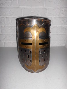 Knight helmet made of heavy metal with brass/copper details and leather inner helmet, beautiful model!