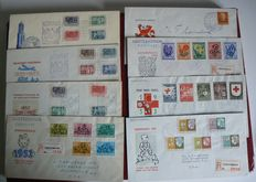 The Netherlands 1952/1953 - FDCs NVPH E10/E15 and 2 covers 100 years postage stamps