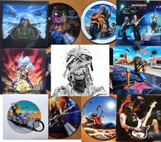 Iron Maiden Awesome Lot Of Six ( 6 !! ) Exclusive Picture Disc LP's  -  All In Full Colour Sleeves !!