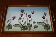 Walnut tray with porcelain top with floral decorations, Belgium, ca. 1950